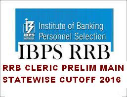IBPS RRB PRELIM MAIN OFFICE ASSISTANTS STATE WISE CUT OFF  2016: MULTIPURPOSE CLERK