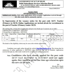 Delhi primary teacher recruitment 2018 : apply online DSSSB 4366 posts in MCD